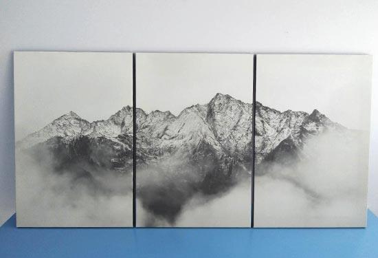 กรอบรูปติดผนัง ภูเขา ขาวดำ สวยๆ