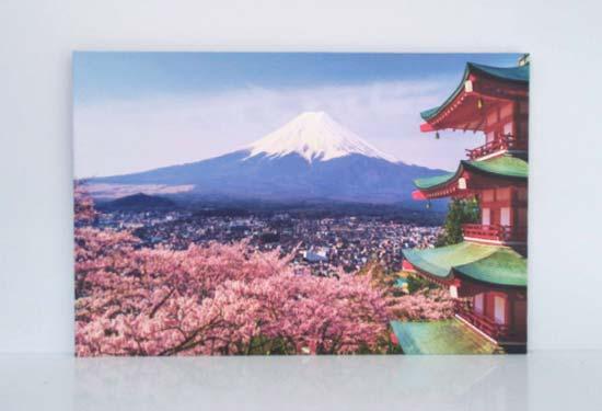 กรอบรูป Canvas ติดผนังห้องนอนสีชมพู ภูเขาไฟฟูจิ ญี่ปุ่น