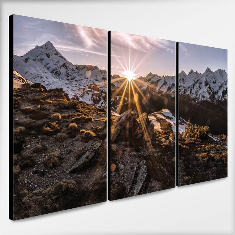 ตัวอย่าง รูปติดผนังวิวภูเขากับดวงอาทิตย์ตอนเช้า