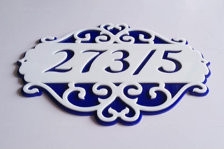 ป้ายบ้านเลขที่ วินเทจ อะคริลิก สีน้ำเงิน