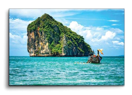 กรอบรูป เกาะ ทะเล เรือหางยาว สีฟ้า