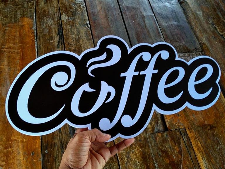 ป้ายหน้าร้านกาแฟ Coffee แต่งร้าน