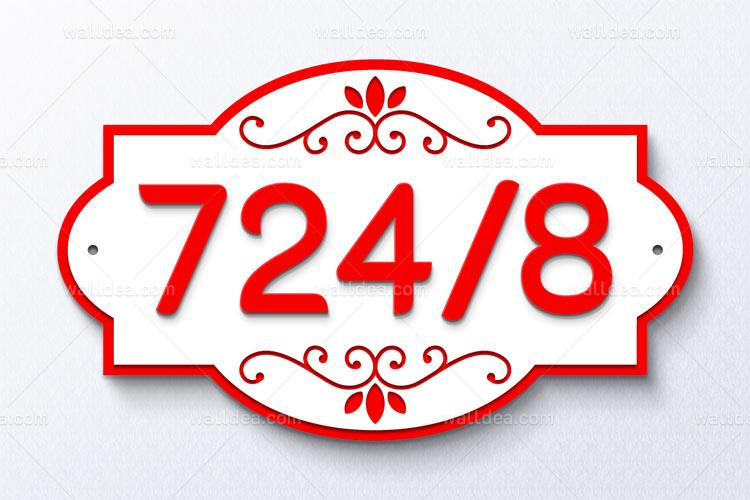 ป้ายบ้านเลขที่ วินเทจ อะคริลิก สีแดง สวยๆ