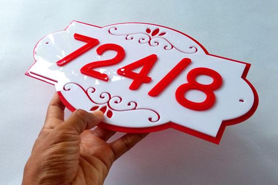 ป้ายบ้านเลขที่ อะคริลิก สวยๆ โทนสีแดง