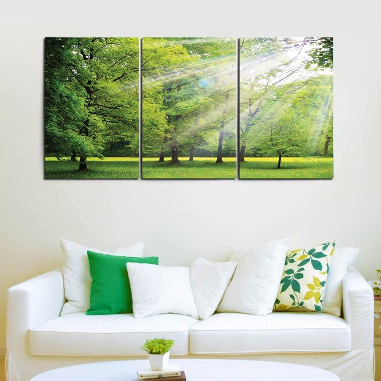 แต่งบ้าน โทนสีเขียว ด้วยภาพต้นไม้