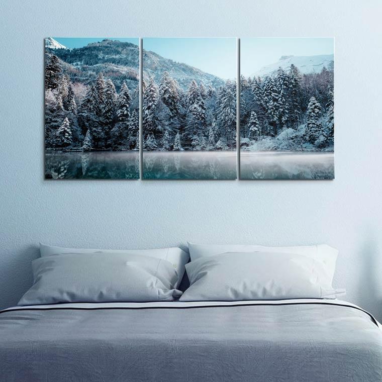 ไอเดียแต่งห้องนอน สีฟ้า เทา ด้วยภาพติดผนัง