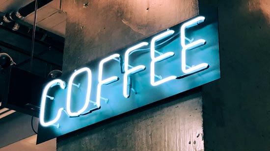 ป้ายไฟ นีออน ตัวอักษร COFFEE ตกแต่งร้านกาแฟ