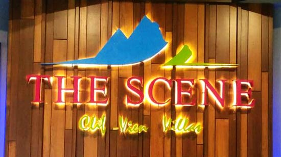 ป้ายไฟตัวอักษร ชื่อโรงแรม แสงไฟออกหลัง ทำจากสแตนเลส